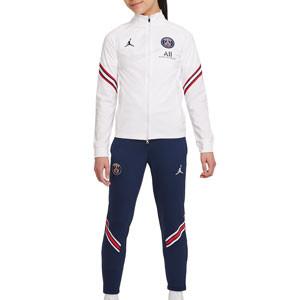 Chándal Nike PSG x Jordan niño Dri-Fit Strike - Chándal infantil Nike del París Saint-Germain - blanco y azul marino - frontal