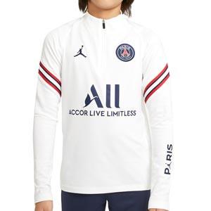 Sudadera Nike PSG x Jordan entreno 2021 2022 niño Strike - Sudadera infantil entrenamiento Nike x Jordan Paris Saint-Germain 2021 2022 - blanca - frontal
