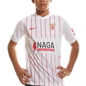 Camiseta Nike Sevilla niño 2021 2022 - Camiseta primera equipación infantil Nike del Sevilla FC 2021 2022 - blanca