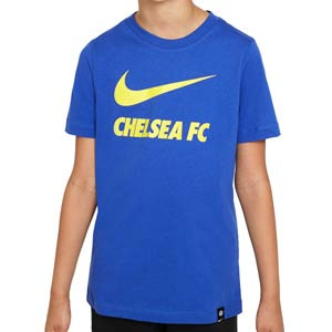Camiseta Nike Chelsea niño Swoosh Club algodón - Camiseta de manga corta de algodón infantil Nike del Chelsea FC - azul