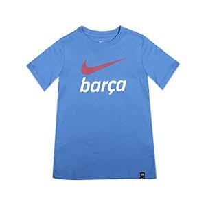 Camiseta Nike Barcelona niño Swoosh Club - Camiseta infantil de manga corta Nike del FC Barcelona - azul - completa frontal