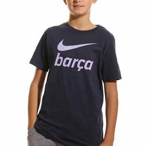 Camiseta Nike Barcelona niño Swoosh Club algodón - Camiseta de manga corta de algodón infantil Nike del FC Barcelona - azul marino