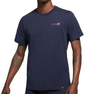 Camiseta Nike Barcelona Ignite algodón - Camiseta de manga corta de algodón Nike del FC Barcelona - azul marino