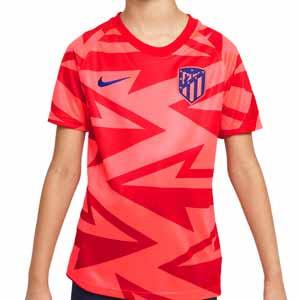 Camiseta Nike Atlético niño pre-match - Camiseta infantil Nike del Atlético de Madrid pre-match - rosa rojiza