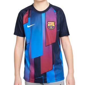 Camiseta Nike Barcelona niño pre-match - Camiseta de calentamiento pre-partido infantil Nike del FC Barcelona - azulgrana - completa frontal