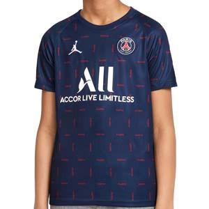 Camiseta Nike PSG x Jordan niño pre-match 2021 2022 - Camiseta calentamiento pre-partido infantil Nike x Jordan del París Saint-Germain 2021 2022 - azul marino - frontal