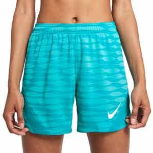 Short Nike Dri-Fit Strike 21 mujer - Pantalón corto de mujer para entrenamiento de fútbol Nike - azul turquesa - frontal