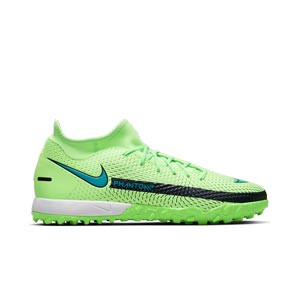 Nike Phantom GT Academy DF TF - Zapatillas de fútbol multitaco con tobillera Nike suela turf - verdes lima - pie derecho