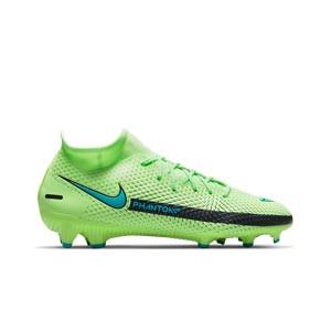 Nike Phantom GT Academy DF FG/MG - Botas de fútbol con tobillera Nike FG/MG para césped artificial - verdes lima - pie derecho