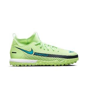 Nike Jr Phantom GT Academy DF TF - Zapatillas de fútbol infantiles multitaco con tobillera Nike suela turf - verdes lima - pie derecho