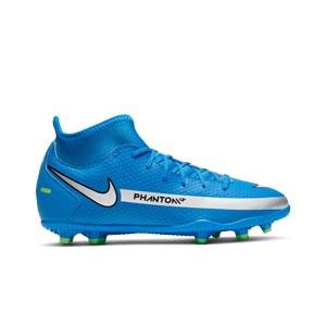 Nike Jr Phantom GT Club DF FG/MG - Botas de fútbol con tobillera infantiles Nike FG/MG para césped artificial - azules, plateadas, verdes, negras - pie derecho