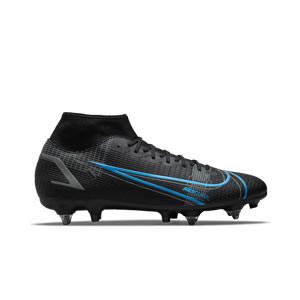 Nike Mercurial Superfly 8 Academy SG-PRO AC - Botas de fútbol con tobillera Nike SG-PRO con tacos de alúminio para césped natural blando - negras