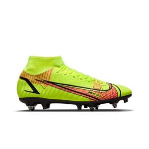 Nike Mercurial Superfly 8 Academy SG-PRO AC - Botas de fútbol con tobillera Nike SG-PRO con tacos de alúminio para césped natural blando - amarillas flúor, rojas