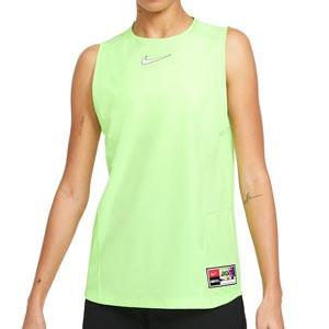 Camiseta tirantes Nike FC Dri-Fit mujer - Camiseta sin mangas para mujer Nike de la colección Joga Bonito - verde lima - frontal