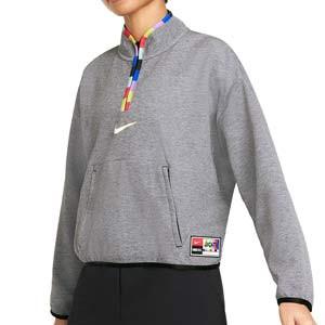 Sudadera Nike FC Dri-Fit mujer - Sudadera de calle de mujer Nike de la colección Joga Bonito - gris - frontal