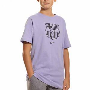 Camiseta Nike Barcelona Evergreen Crest niño - Camiseta de algodón infantil Nike del FC Barcelona - lila