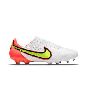 Nike Tiempo Legend 9 Elite FG - Botas de fútbol de piel de canguro Nike FG para césped natural o artificial de última generación - blancas, amarillas flúor