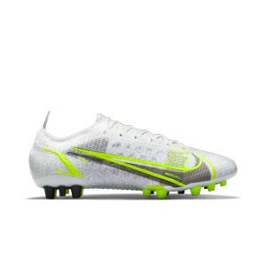 Nike Mercurial Vapor 14 Elite AG - Botas de fútbol Nike AG para césped artificial - blancas y plateadas - pie derecho