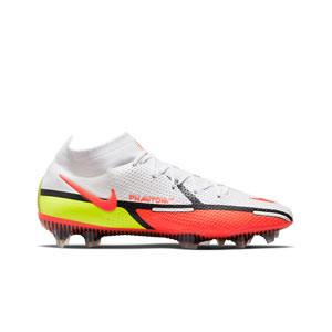 Nike Phantom GT2 Elite DF FG - Botas de fútbol con tobillera Nike FG para césped natural o artificial de última generación - blancas, rojas