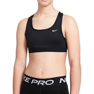 Sujetador Nike Swoosh niña sin relleno - Top deportivo Nike de niña para fútbol - negro
