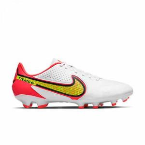Nike Tiempo Legend 9 Academy FG/MG - Botas de fútbol de piel Nike FG/MG para césped artificial - blancas, amarillas flúor
