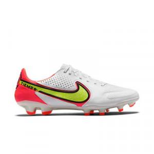 Nike Tiempo Legend 9 Pro FG - Botas de fútbol de piel Nike FG para césped natural o artificial de última generación - blancas, amarillas flúor