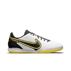 Nike Tiempo React Legend 9 Pro IC - Zapatillas de fútbol sala de piel Nike con suela lisa IC - blancas y amarillas