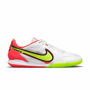 Nike Tiempo React Legend 9 Pro IC - Zapatillas de fútbol sala de piel Nike con suela lisa IC - blancas, amarillas flúor