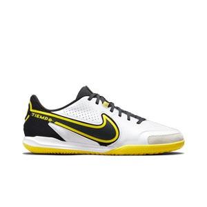 Nike Tiempo Legend 9 Academy IC - Zapatillas de fútbol sala de piel Nike con suela lisa IC - blancas y amarillas
