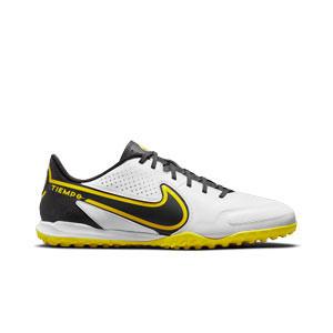 Nike Tiempo Legend 9 Academy TF - Zapatillas de fútbol multitaco de piel Nike suela turf - blancas y amarillas