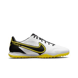 Nike Tiempo React Legend 9 Pro TF - Zapatillas de fútbol multitaco de piel Nike suela turf - blancas y amarillas
