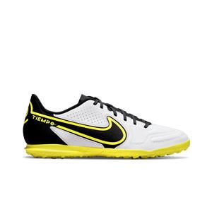 Nike Tiempo Legend 9 Club TF - Zapatillas de fútbol multitaco Nike Football con suela turf - blancas y grises