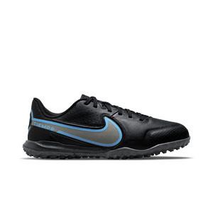 Nike Tiempo Jr Legend 9 Academy TF - Zapatillas de fútbol infantiles multitaco de piel Nike suela turf - negras