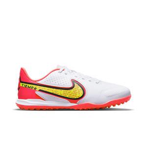 Nike Tiempo Jr Legend 9 Academy TF - Zapatillas de fútbol infantiles multitaco de piel Nike suela turf - blancas, amarillas flúor