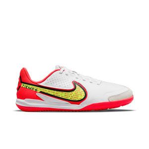 Nike Tiempo Jr Legend 9 Academy IC - Zapatillas infantiles de fútbol sala de piel Nike suela lisa IC - blancas, amarillas flúor