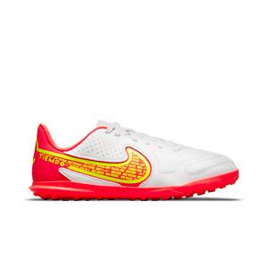Nike Tiempo Jr Legend 9 Club TF - Zapatillas infantiles de fútbol multitaco Nike suela turf - blancas, amarillas flúor