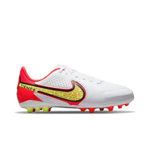 Nike Tiempo Jr Legend 9 Academy AG - Botas de fútbol infantiles de piel Nike AG para césped artificial - blancas, amarillas flúor