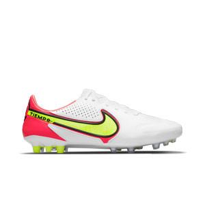 Nike Tiempo Legend 9 Pro AG-PRO - Botas de fútbol de piel Nike AG-PRO para césped artificial - blancas, amarillas flúor