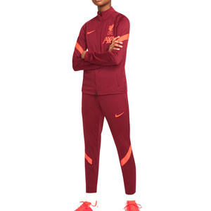 Chándal Nike Liverpool niño Strike - Chándal infantil Nike del Liverpool FC - granate - completa frontal