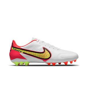 Nike Tiempo Legend 9 Academy AG - Botas de fútbol de piel Nike AG para césped artificial - blancas, amarillas flúor