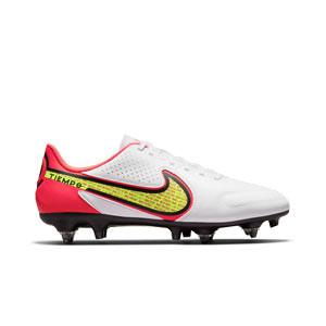 Nike Tiempo Legend 9 Academy SG-PRO AC - Botas de fútbol de piel Nike SG con tacos de alúminio para césped natural blando - blancas, amarillas flúor
