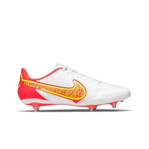 Nike Tiempo Legend 9 Club SG - Botas de fútbol Nike SG con tacos de alúminio para césped natural blando - blancas, amarillas flúor