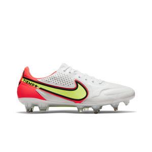 Nike Tiempo Legend 9 Elite SG-PRO AC - Botas de fútbol de piel de canguro Nike SG con tacos de alúminio para césped natural blando - blancas, amarillas flúor