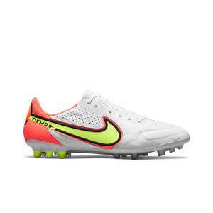 Nike Tiempo Legend 9 Elite AG-PRO - Botas de fútbol de piel de canguro Nike AG-PRO para césped artificial - blancas, amarillas flúor