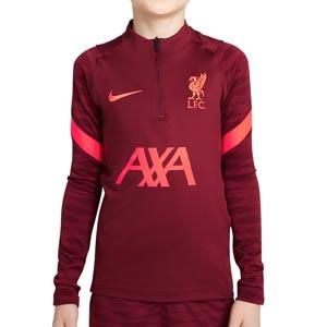 Sudadera Nike Liverpool entrenamiento niño Dri-Fit Strike - Sudadera infantil de entrenamiento Nike del Liverpool FC - granate - completa frontal