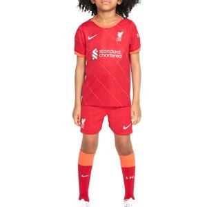 Equipación Nike Liverpool niño 3-8 años 2021 2022 - Conjunto infantil Nike primera equipación Liverpool FC 2021 2022 - rojo - frontal