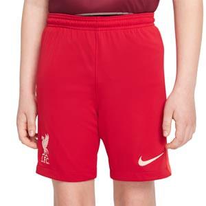 Short Nike Liverpool 2021 2022 niño Dri-Fit Stadium - Pantalón corto infantil primera equipación Nike del Liverpool FC 2021 2022 - rojo - frontal