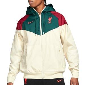 Cortavientos Nike Liverpool Sportswear Hoodie - Chaqueta cortavientos Nike del Liverpool FC - beige, verde