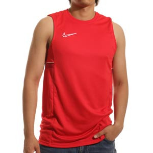 Camiseta tirantes Nike Dri-Fit Academy 21 - Camiseta sin mangas de entrenamiento de fútbol Nike - roja