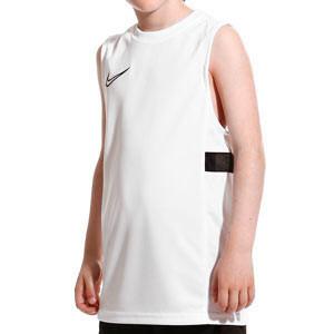 Camiseta tirantes Nike Dri-Fit Academy 21 niño - Camiseta sin mangas infantil de entrenamiento de fútbol Nike - blanca - frontal